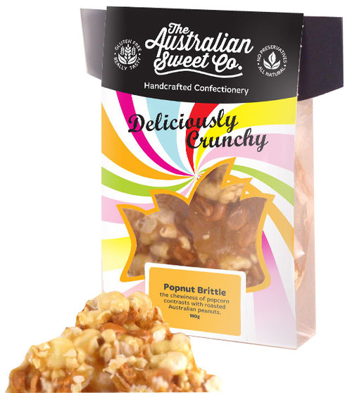 Gourmet Popnut Brittle - Card Wrap, by The Australian Sweet Company,  and more Confectionery at The Professors Online Lolly Shop. (Image Number :8723)