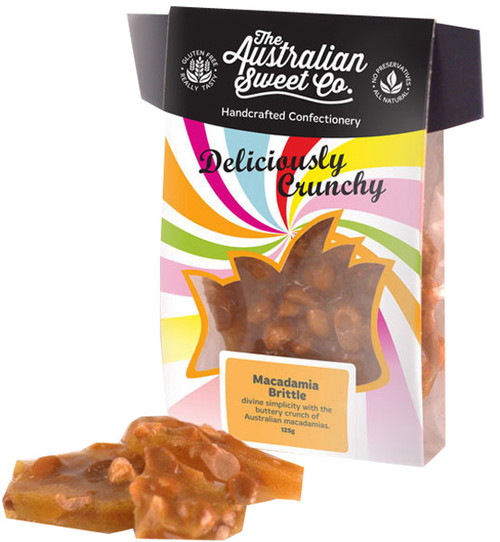 Gourmet Macadamia Brittle - Card Wrap, by The Australian Sweet Company,  and more Confectionery at The Professors Online Lolly Shop. (Image Number :8722)