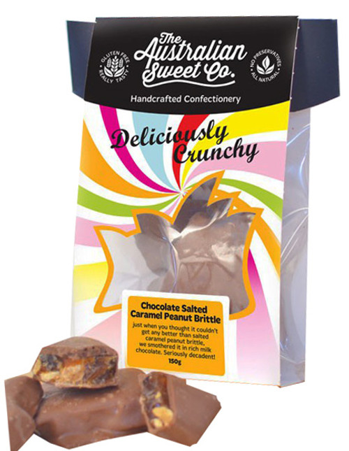 Gourmet Chocolate Salted Caramel Peanut Brittle - Card Wrap, by The Australian Sweet Company,  and more Confectionery at The Professors Online Lolly Shop. (Image Number :8727)