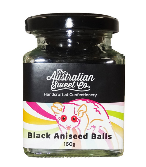 Aniseed Balls - Black, by The Australian Sweet Company,  and more Confectionery at The Professors Online Lolly Shop. (Image Number :9044)