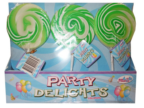Lolly Mania Party Delights Lollipops - Green - Apple Flavour, by Lolly Mania,  and more Confectionery at The Professors Online Lolly Shop. (Image Number :9060)
