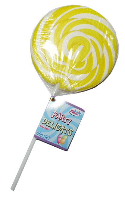 Lolly Mania Party Delights Lollipops - Yellow - Pineapple Flavour, by Lolly Mania,  and more Confectionery at The Professors Online Lolly Shop. (Image Number :8699)