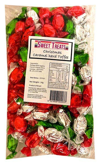 Sweet Treats Wrapped Hard Toffees - Xmas Mix, by Brisbane Bulk Supplies,  and more Confectionery at The Professors Online Lolly Shop. (Image Number :13533)