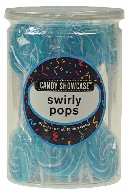 Candy Showcase Swirly Pops - Blue and White, by Lolliland,  and more Confectionery at The Professors Online Lolly Shop. (Image Number :8979)