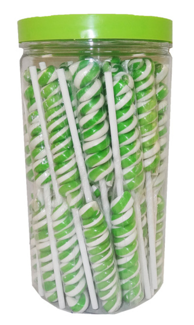 Twist Pops - Green and White, by Brisbane Bulk Supplies,  and more Confectionery at The Professors Online Lolly Shop. (Image Number :8950)