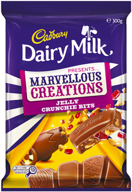 Cadbury Dairy Milk Marvellous Creations - Jelly Crunchie Bits, by Cadbury,  and more Confectionery at The Professors Online Lolly Shop. (Image Number :9272)