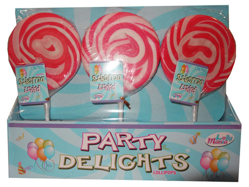 Lolly Mania Party Delights Lollipops - Pink - Strawberry Flavour, by Lolly Mania/Other,  and more Confectionery at The Professors Online Lolly Shop. (Image Number :9058)