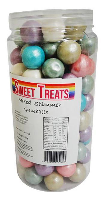 Sweet Treats Shimmer Gumballs Bulk - Assorted Colours (1kg Tub)
