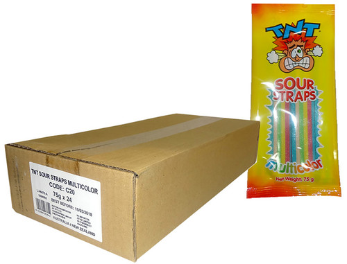 TNT Sour Straps - Hang Sell Bags -  Multicolour Packs, by TNT,  and more Confectionery at The Professors Online Lolly Shop. (Image Number :9862)