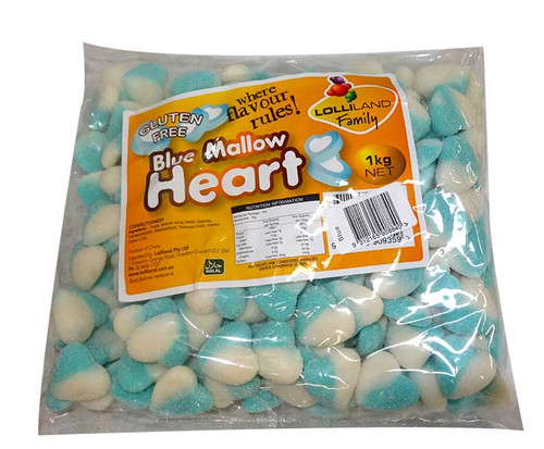 Lolliland Mallow Hearts - Blue and White, by Lolliland,  and more Confectionery at The Professors Online Lolly Shop. (Image Number :9706)