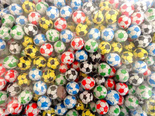 Choc Footballs, by Kingsway,  and more Confectionery at The Professors Online Lolly Shop. (Image Number :13110)