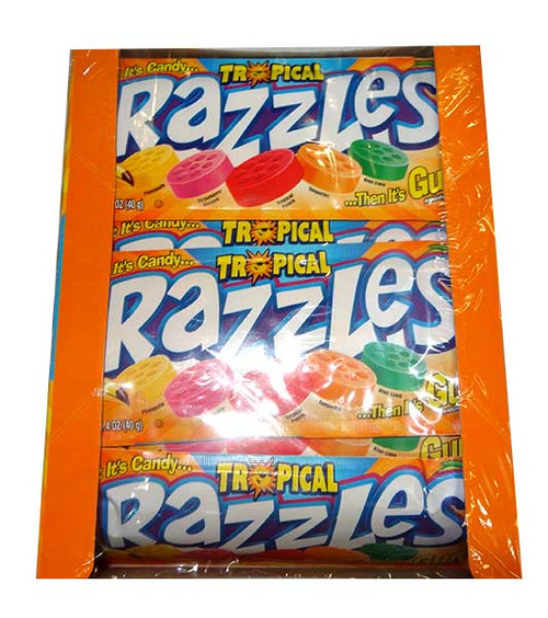 Razzles - Tropical, by Tootsie Roll Industries,  and more Confectionery at The Professors Online Lolly Shop. (Image Number :9907)