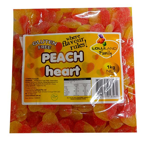 Lolliland Sour Peach Hearts, by Lolliland,  and more Confectionery at The Professors Online Lolly Shop. (Image Number :10095)