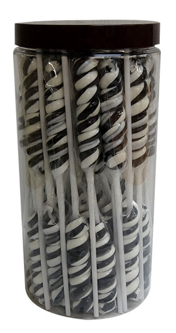 Twist Pops - Black and White, by Brisbane Bulk Supplies,  and more Confectionery at The Professors Online Lolly Shop. (Image Number :10085)