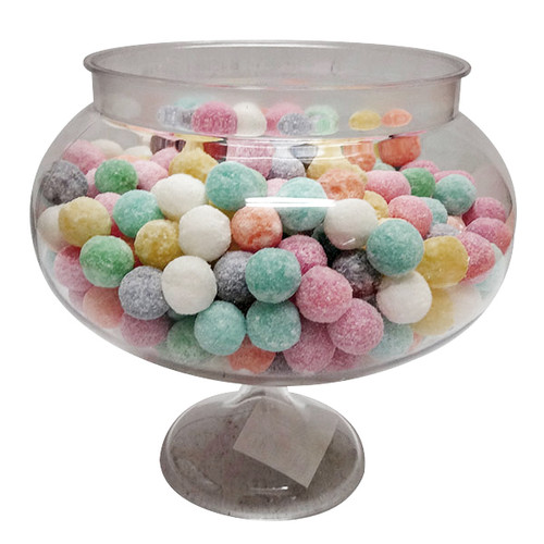 Clear Plastic Short Round Pedestal Candy Buffet Jar and more Partyware at The Professors Online Lolly Shop. (Image Number :10107)