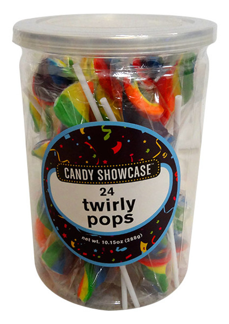 Candy Showcase Twirly Pops - Rainbow, by Lolliland,  and more Confectionery at The Professors Online Lolly Shop. (Image Number :13808)