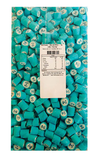 "Rock Candy - Blue and White - ""Its a Boy"", by Designer Candy,  and more Confectionery at The Professors Online Lolly Shop. (Image Number :11352)"