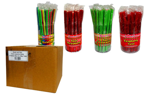 Sweet and Sour Fruit Liquorice Sticks - 4 Flavour Box, by Sweet and Sour,  and more Confectionery at The Professors Online Lolly Shop. (Image Number :10467)