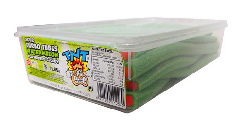 TNT Sour Turbo Tubes - Watermelon, by TNT,  and more Confectionery at The Professors Online Lolly Shop. (Image Number :10673)