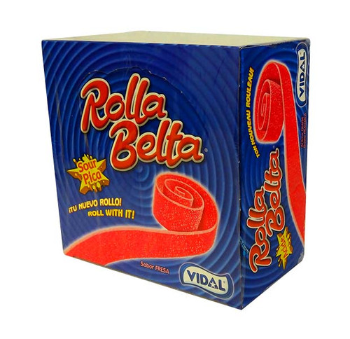 Vidal Rolla Belts - Strawberry, by vidal,  and more Confectionery at The Professors Online Lolly Shop. (Image Number :10684)