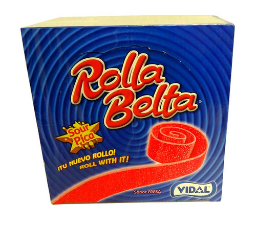 Vidal Rolla Belts - Strawberry, by vidal,  and more Confectionery at The Professors Online Lolly Shop. (Image Number :10685)