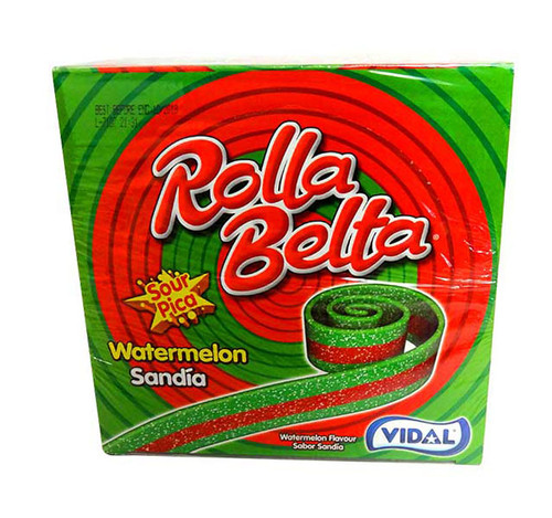 Vidal Rolla Belts - Watermelon, by vidal,  and more Confectionery at The Professors Online Lolly Shop. (Image Number :10681)