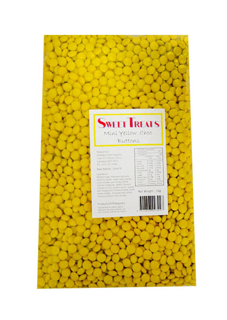 Mini Choc Buttons Bulk - Yellow, by Brisbane Bulk Supplies,  and more Confectionery at The Professors Online Lolly Shop. (Image Number :10768)