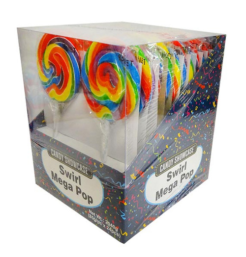 Candy showcase Mega Swirl lollipops  - Rainbow, by Lolliland,  and more Confectionery at The Professors Online Lolly Shop. (Image Number :10804)