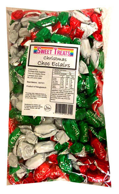 Sweet Treats Christmas Choc Eclairs and more Confectionery at The Professors Online Lolly Shop. (Image Number :13531)