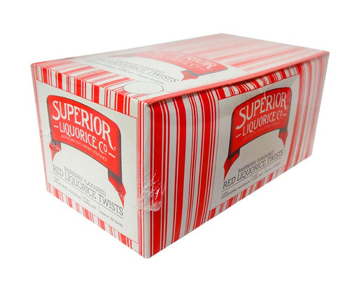 Superior Red Long Liquorice Twists, by Fyna Foods,  and more Confectionery at The Professors Online Lolly Shop. (Image Number :10730)