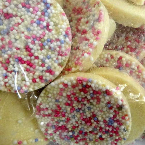 Lolliland White Choc Jazzies - Large Freckles, by Lolliland,  and more Confectionery at The Professors Online Lolly Shop. (Image Number :11342)