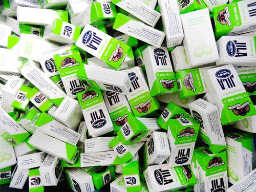 Jila Chewy Mini Mint Packs - Spearmint, by Ferndale Confectionery/Jila,  and more Confectionery at The Professors Online Lolly Shop. (Image Number :10716)