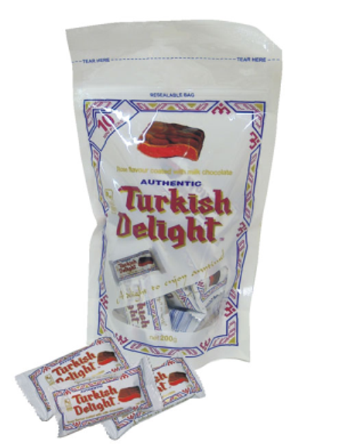 Turkish Delight - Bag - Rose Flavour coated in Milk Chocolate, by Real Turkish Delight Co,  and more Confectionery at The Professors Online Lolly Shop. (Image Number :11150)