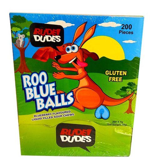 Rude Dudes - Roo Blue Balls - Liquid Filled Sour Chews and more Confectionery at The Professors Online Lolly Shop. (Image Number :10817)