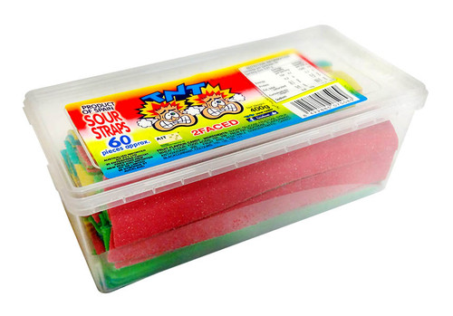 TNT 2 Faced Sour Straps Snack Pack, by TNT,  and more Confectionery at The Professors Online Lolly Shop. (Image Number :11266)