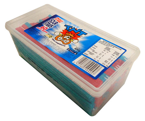 TNT Sour Straps Snack Pack - Blue Raspberry, by TNT,  and more Confectionery at The Professors Online Lolly Shop. (Image Number :13732)