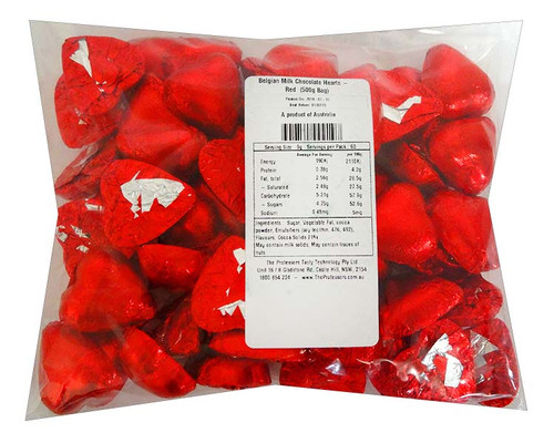 Belgian Milk Chocolate Hearts - Red and more Confectionery at The Professors Online Lolly Shop. (Image Number :11698)