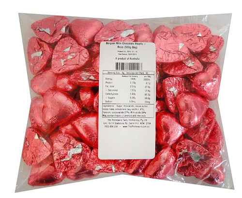 Belgian Milk Chocolate Hearts - Rose and more Confectionery at The Professors Online Lolly Shop. (Image Number :11700)