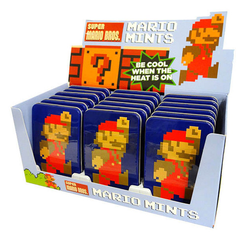Nintendo Mario 8 bit Mints Tin and more Confectionery at The Professors Online Lolly Shop. (Image Number :16634)