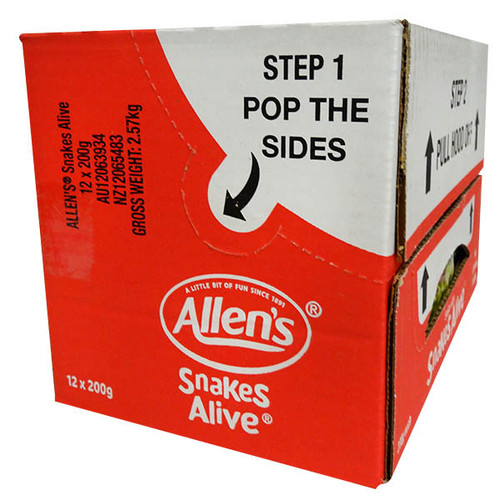 Allens Snakes Alive, by Allens Confectionery,  and more Confectionery at The Professors Online Lolly Shop. (Image Number :12735)