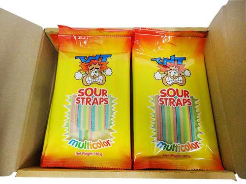 TNT Sour Straps - Multicolour - Hang Sell Bags (150g bag x 24pc box)