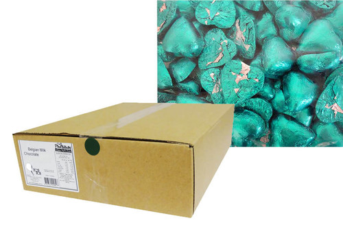 Belgian Milk Chocolate Hearts - Aqua and more Confectionery at The Professors Online Lolly Shop. (Image Number :12327)