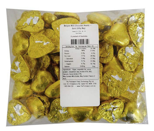 Belgian Milk Chocolate Hearts - Gold and more Confectionery at The Professors Online Lolly Shop. (Image Number :11478)