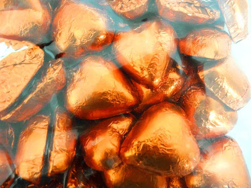 Belgian Milk Chocolate Hearts - Orange and more Confectionery at The Professors Online Lolly Shop. (Image Number :11693)