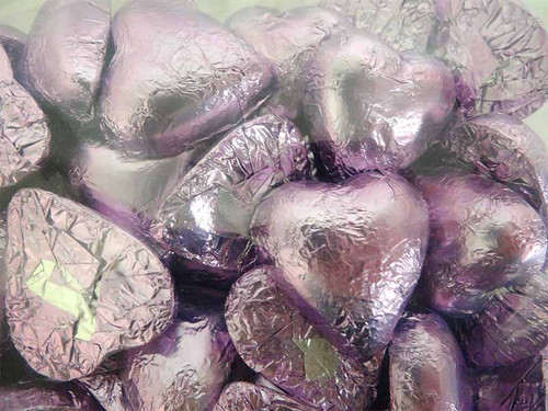 Belgian Milk Chocolate Hearts - Lilac and more Confectionery at The Professors Online Lolly Shop. (Image Number :11689)
