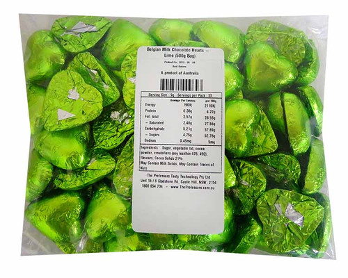 Belgian Milk Chocolate Hearts - Lime and more Confectionery at The Professors Online Lolly Shop. (Image Number :11486)