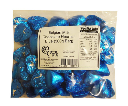 Belgian Milk Chocolate Hearts - Blue and more Confectionery at The Professors Online Lolly Shop. (Image Number :12296)