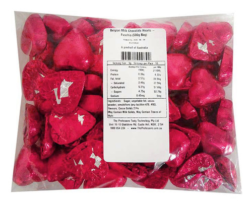 Belgian Milk Chocolate Hearts - Fuschia and more Confectionery at The Professors Online Lolly Shop. (Image Number :11476)