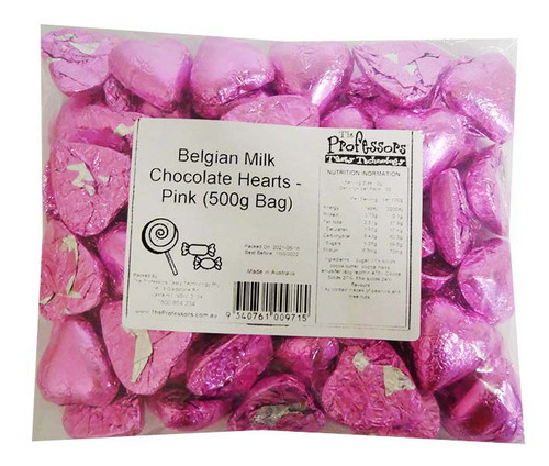 Belgian Milk Chocolate Hearts - Pink and more Confectionery at The Professors Online Lolly Shop. (Image Number :16504)