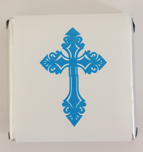Belgian Wrapped Chocolate - Bulk - Ornate Blue Cross and more Confectionery at The Professors Online Lolly Shop. (Image Number :11385)